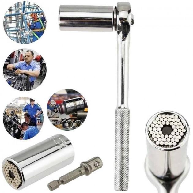 Гайковий ключ універсальний торцевій тріскачка нержавіюча сталь S 7-19mm Gator Grip