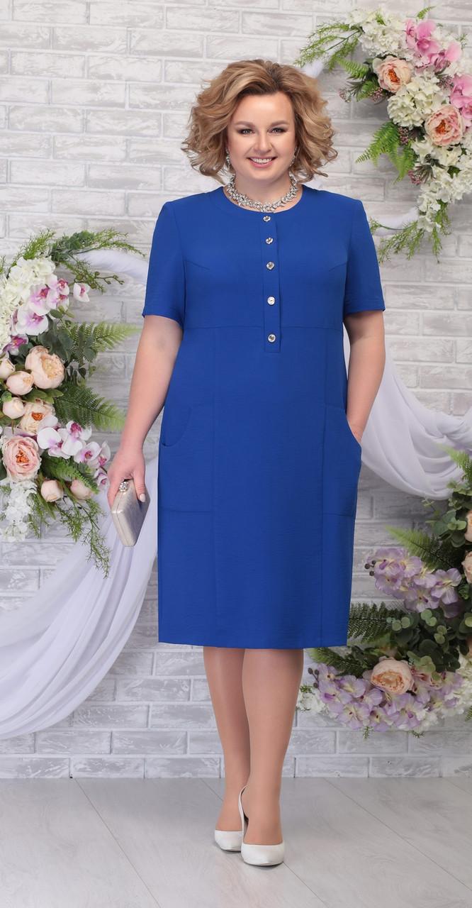 Платье Ninele-2251/3 белорусский трикотаж, василек, 56