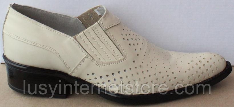 Туфли казаки кожаные бежевые мужские летние от производителя модель ЛЕ10-3