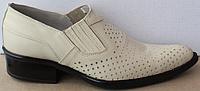 Туфли казаки кожаные бежевые мужские летние от производителя модель ЛЕ10-3, фото 1