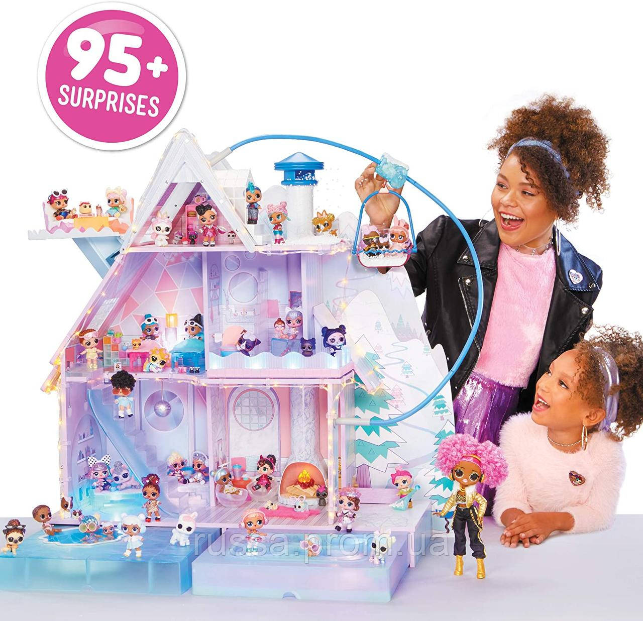 L.O.L. Surprise! Winter Disco Chalet Wooden Doll House (с семьей и камином!) / ЛОЛ Зимний особняк Зимнее Шале