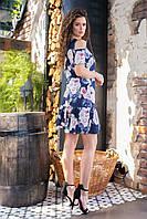 Летнее платье с открытыми плечами (розы на синем, 17) арт 201/1, фото 1