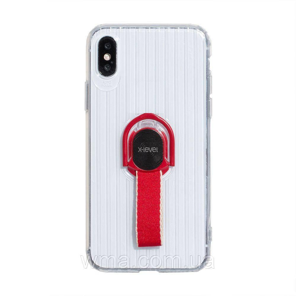 Чехол для телефонов (Смартвонов) Задняя Накладка X-Level Travel Suitcase for Apple Iphone X / Xs Цвет Прозрачно-Красный