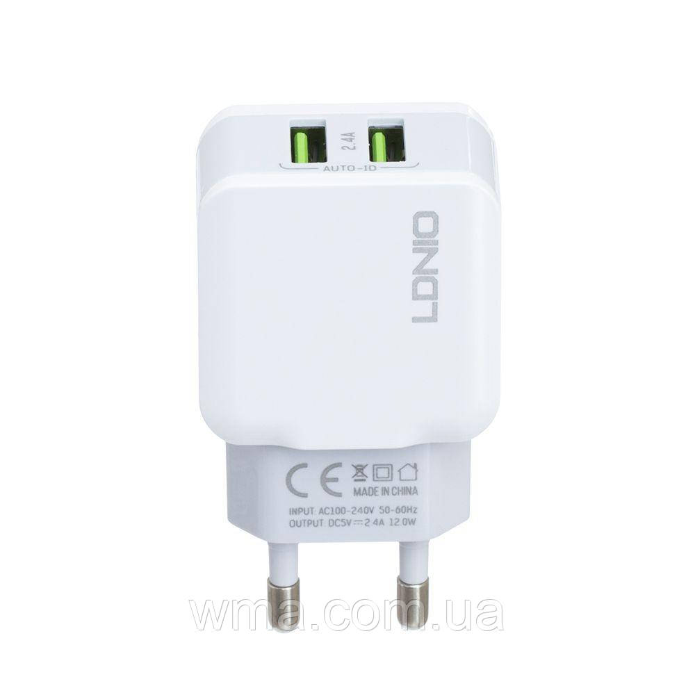 Сетевое зарядное устройство usb (Для телефонов и планшетов) LDNIO A2202 12W 2USB 2.4A Цвет Белый