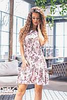 Летнее платье с открытыми плечами (серые цветы на сером, 10) арт 201/1, фото 1