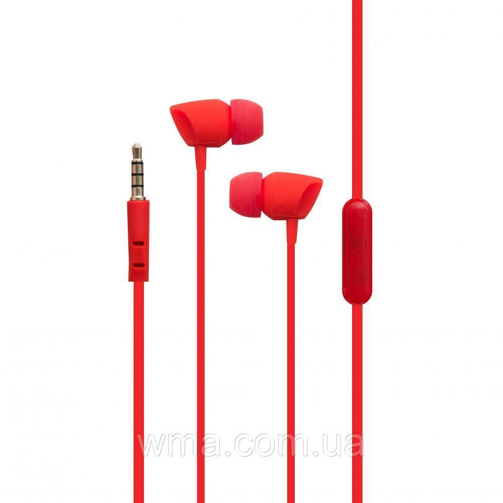 Проводные наушники для телефона Karler KR-606 Цвет Красный