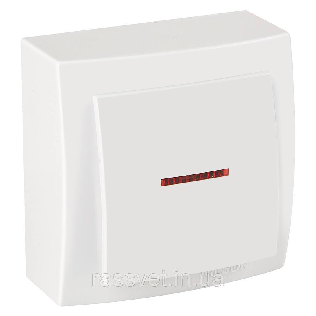 Выключатель накладной Nilson Themis  белый 1клавишный  с подсветкой