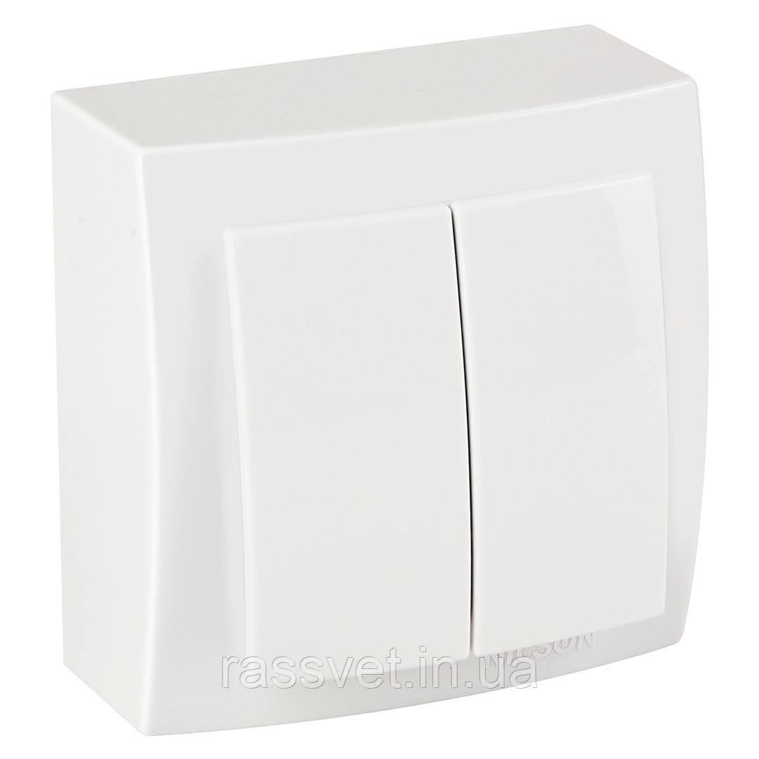 Выключатель накладной Nilson Themis  белый 2клавишный