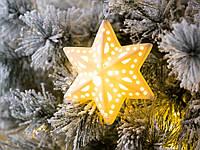 Подвеска на елку Led ночник звезда белая керамика h 12 см
