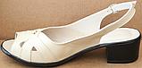 Босоножки на полную ногу на каблуке кожаные от производителя модель БД11, фото 4
