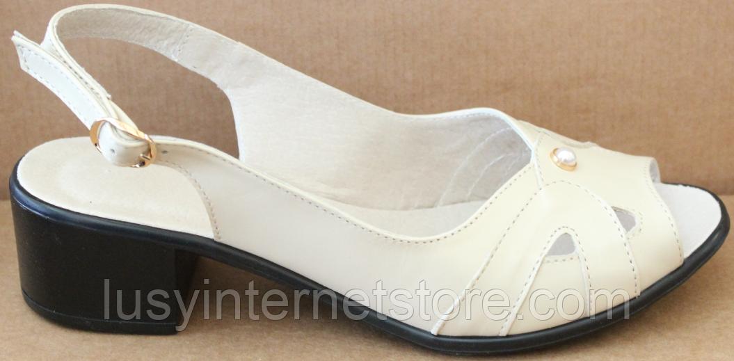 Босоножки на полную ногу на каблуке кожаные от производителя модель БД11