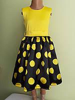 Святкова дитяча жовта сукня з бантом, фото 1