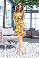 Летнее платье с открытыми плечами розы на желтом, 12) арт 201/1, фото 1