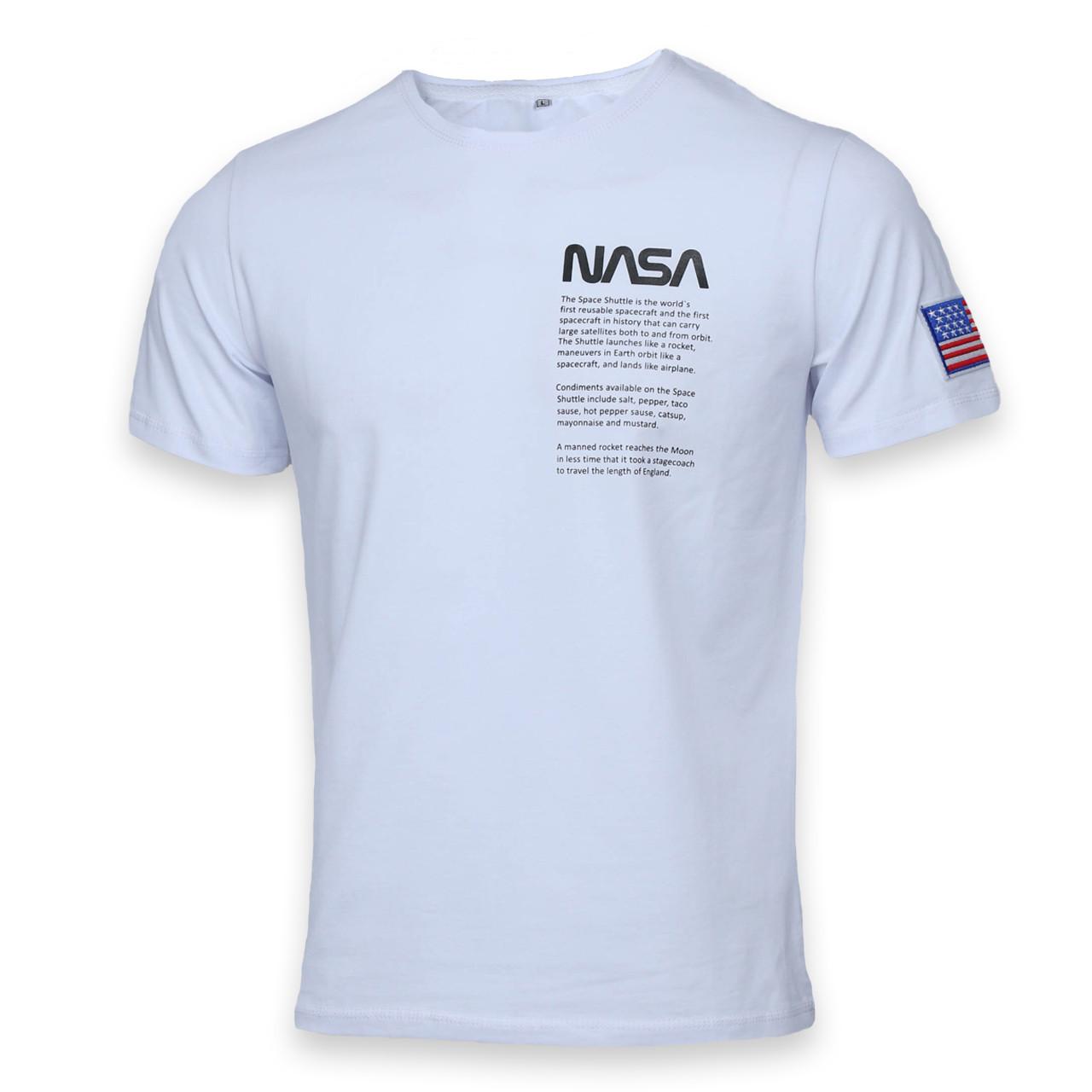 Футболка мужская белая NASA с принтом №4 Ф-10 WHT M(Р) 20-815-020-001