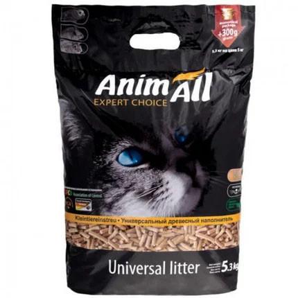 Древесный наполнитель Animall для котов 5.3 кг (300 г бесплатно) Энимал