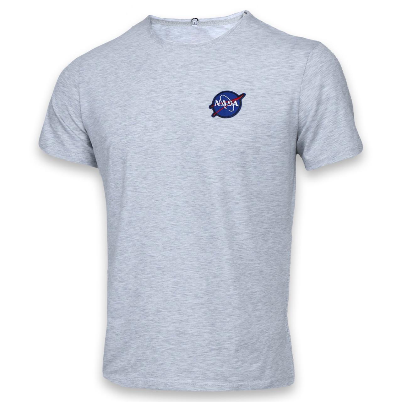 Футболка мужская бел меланж NASA с патчем Ф-10 WTGRI L(Р) 20-814-020
