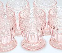 Набор низких Стаканов 581-018 из розового стекла 325 мл