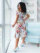 """Летнее  миди-платье в цветочек """"Тереза"""" с оголенными плечами (2 цвета), фото 3"""