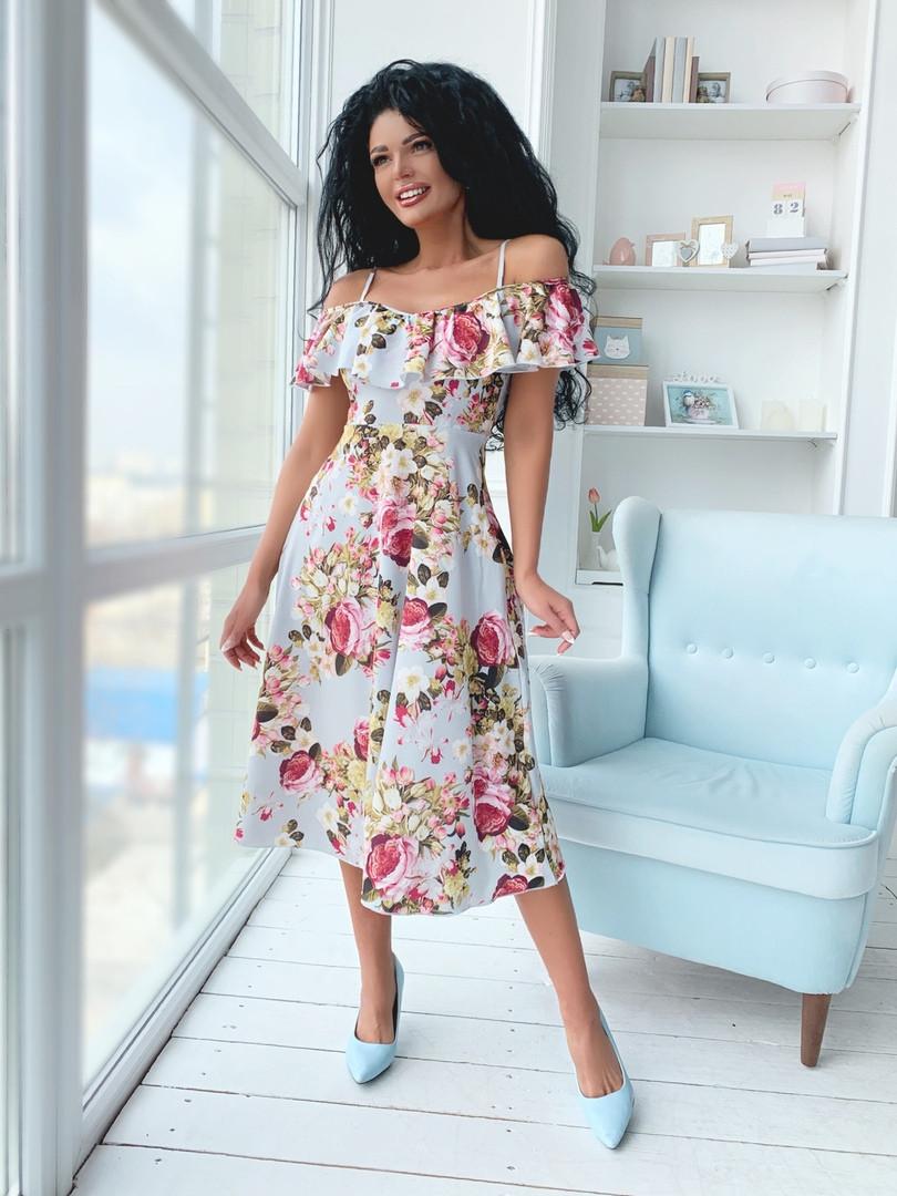 """Летнее  миди-платье в цветочек """"Тереза"""" с оголенными плечами (2 цвета)"""