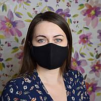 Маска защитная черная трехслойная многоразовая хлопковая женская. Отправка в день заказа