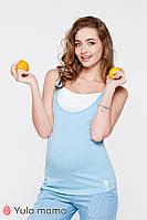 Двухцветная трикотажная майка для беременных и кормящих мам TILLA NR-20.043