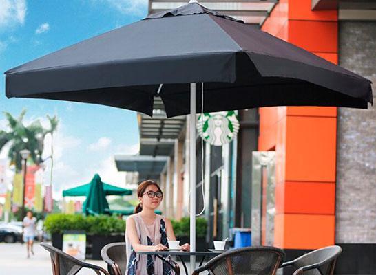 Зонт с логотипом для летних кафе  2.5х2.5м + бетонная подставка, труба 50мм, ткань оксфорд 230г/м2