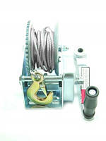 Барабанна лебідка ручна стаціонарна з гальмівним механізмом 545кг (сталевий трос 5мм*6м, 1 гак)