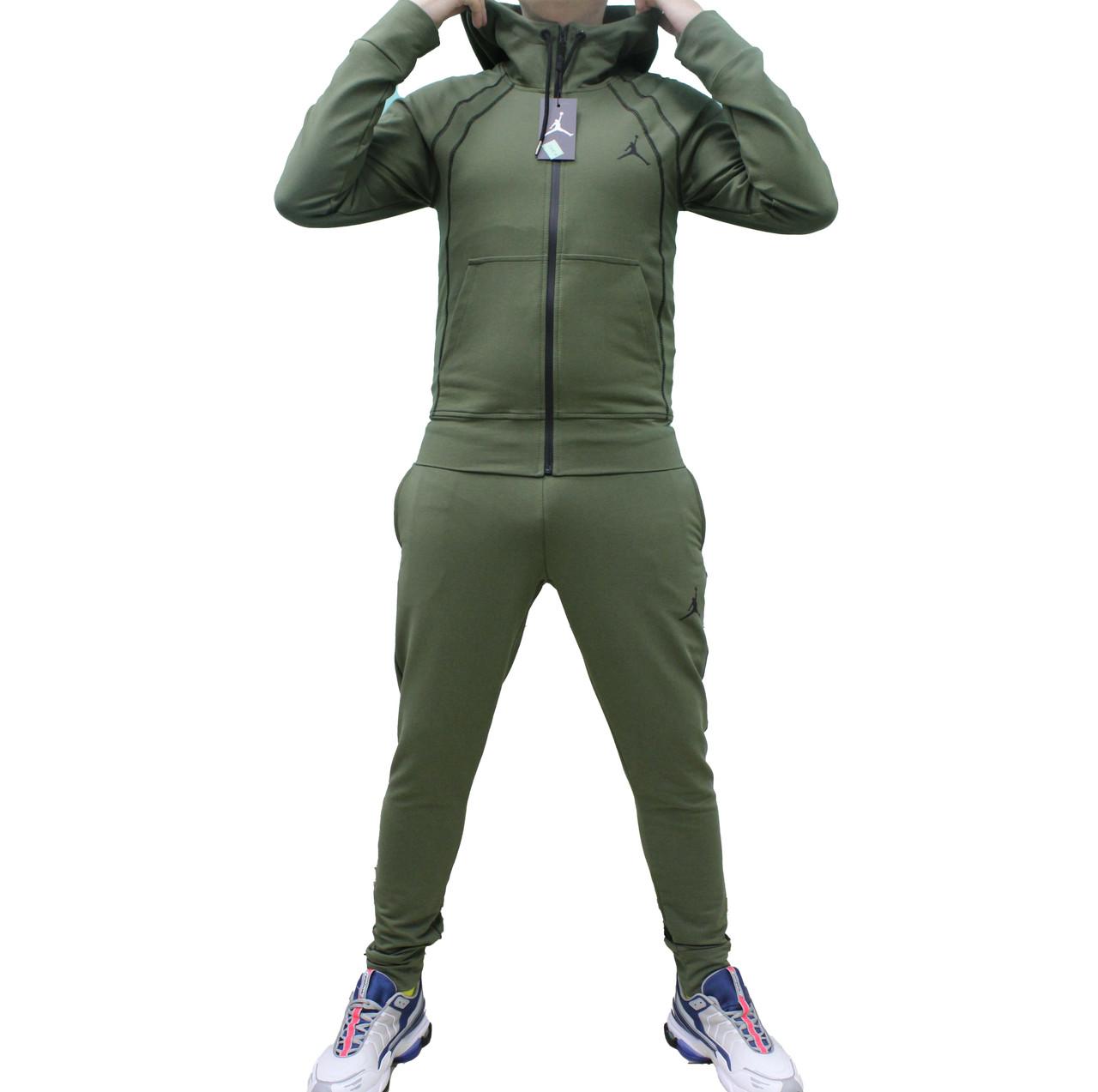 Мужской стильный трикотажный костюм Jordan  цвета хаки на манжетах (Реплика)