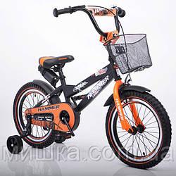 """Велосипед детский """"HAMMER-16"""" S600 черно-оранжевый"""