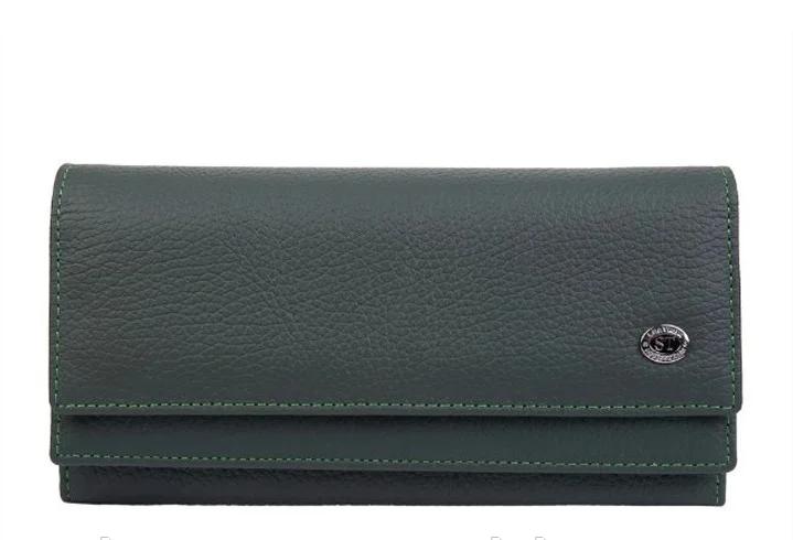 Женский кожаный удобный кошелек (1031) темно зеленый