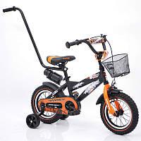 """Велосипед детский """"HAMMER-12"""" S600 черно-оранжевый, фото 1"""