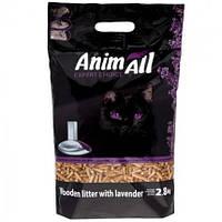Древесный наполнитель с ароматом лаванды Animall для котов 2.8 кг Энимал