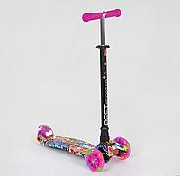 """Самокат для девочек модель А 24651 /779-1395 MAXI """"Best Scooter"""", пластмассовый, 4 колеса PU светятся."""