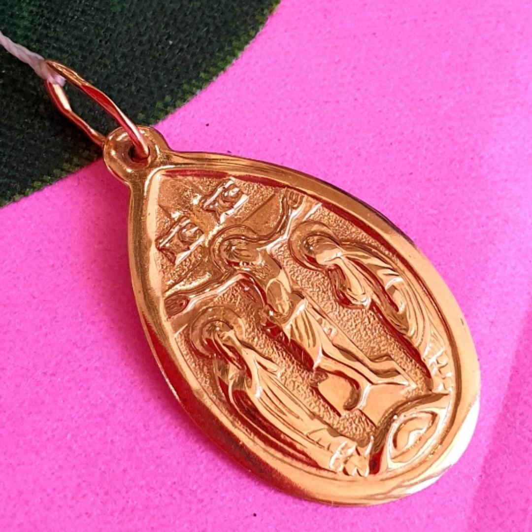 Золотой кулон-икона - Золотая ладанка с распятием