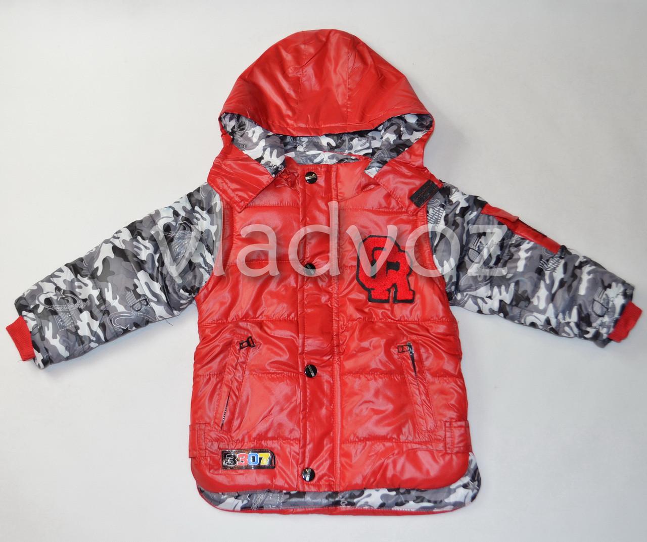 Детская демисезонная куртка ветровка для мальчика 4-5 года красная 110р-116р. L
