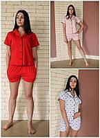 Р-р 42,44,46,48, пижама трикотажная с шортами, женский домашний комплект