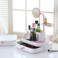 Органайзер для хранения косметики с зеркалом dresscase with mirrow 7009 ящик-органайзер