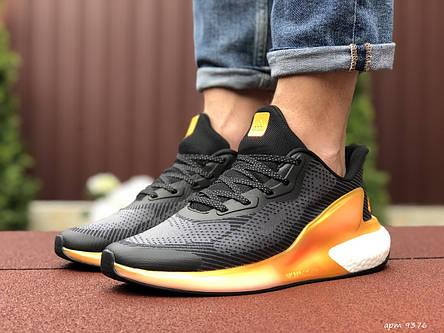Мужские летние кроссовки Adidas Alphaboost,черные с оранжевым, фото 2