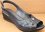 Босоніжки сині на повну ногу на танкетці шкіряні від виробника модель БД12-2, фото 2