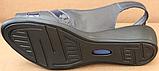 Босоніжки сині на повну ногу на танкетці шкіряні від виробника модель БД12-2, фото 5