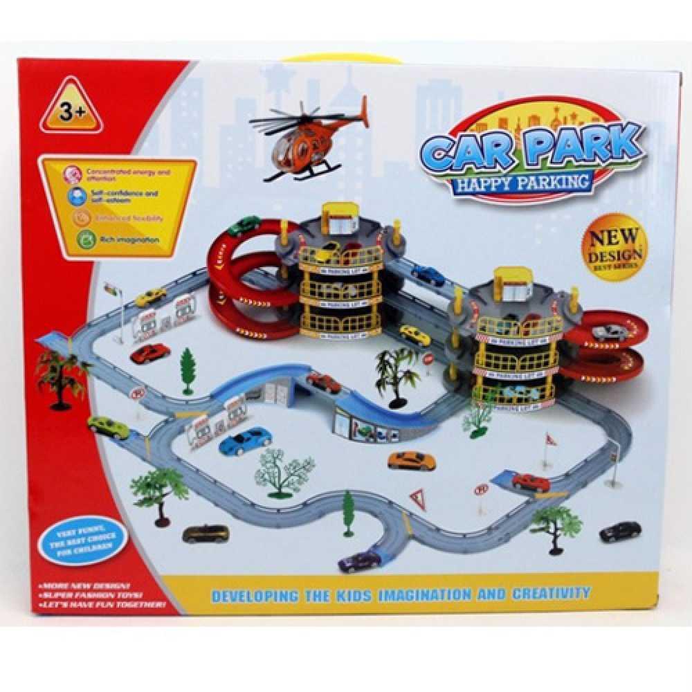 Детский игровой гараж Happy Parking T328-F, 3 этажа, транспорт, дорожные знаки, деревья