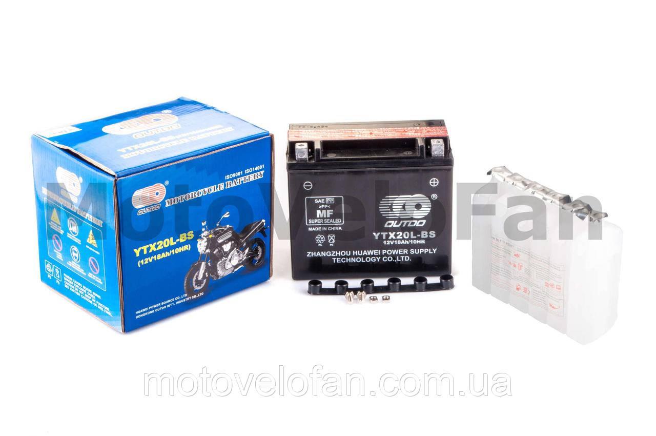 АКБ   12V 18А   заливной    (175x87x155, черный, mod:UTX 20L-BS)   (+электролит)   OUTDO   (mod.A)