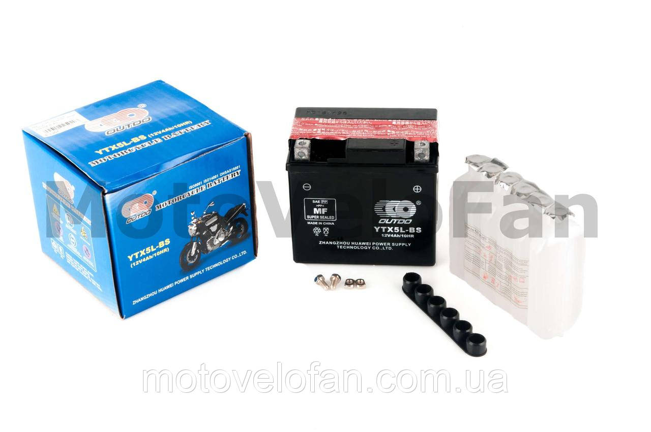 АКБ   12V 4А   заливной   (119x60x128, черный, mod:UTX  5L-BS) (+электролит)   OUTDO