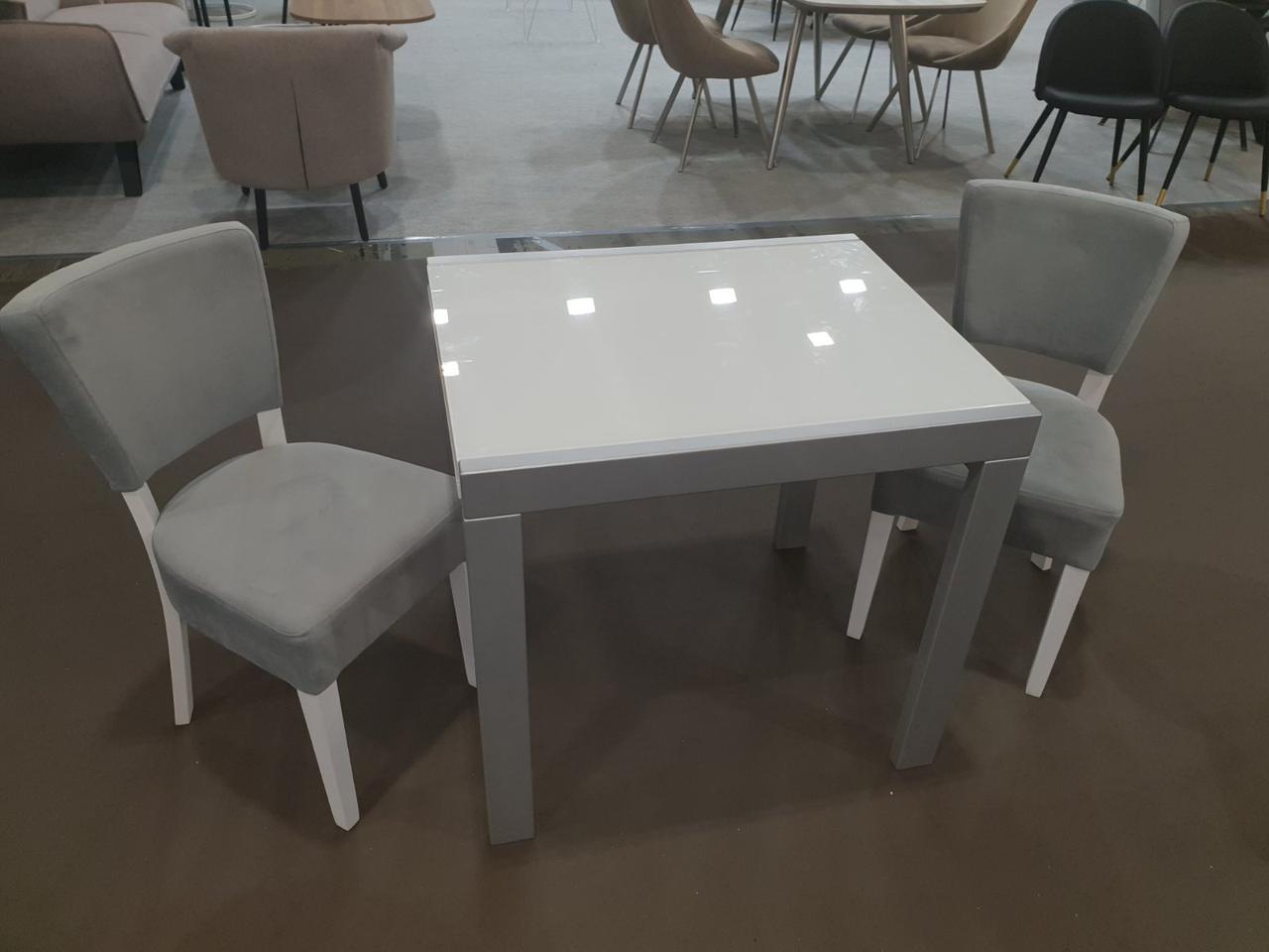 Стол Слайдер 815 серый с ультрабелым стеклом 815/1630х670х750 мм
