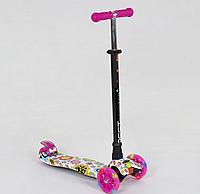 """Самокат для девочек MAXI """"Best Scooter"""" пластмассовый, расцветка розовая абстракция."""