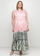 Розовое платье а-силуэт Made in Italy с абстрактным узором, XL-2XL