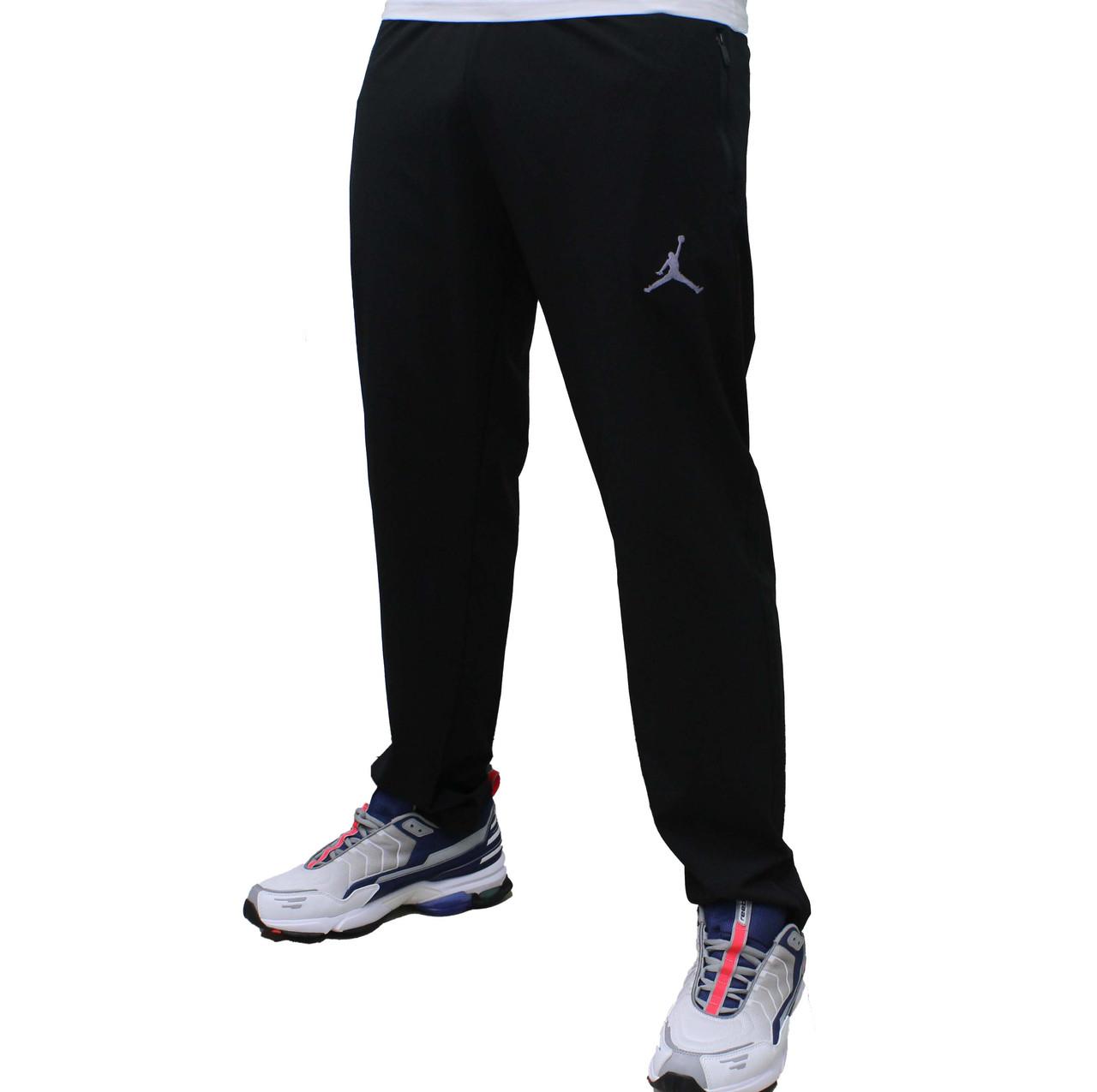 Черные летние прямые спортивные штаны Jordan плащевка стрейч широкие (Реплика)