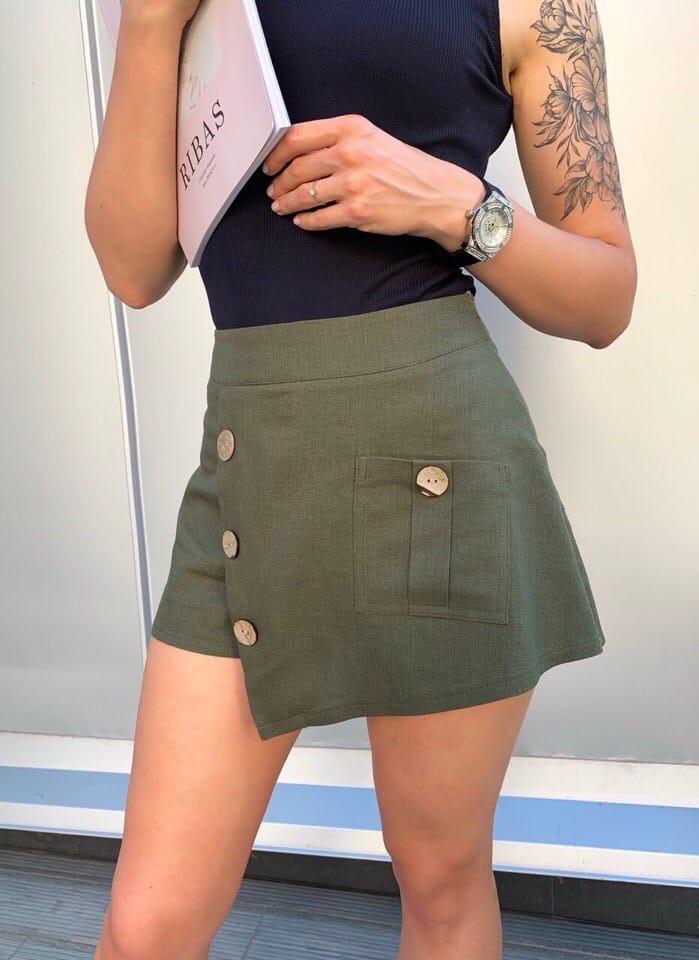 Юбка-шорты  льняные с карманом и пуговицами, 3цвета. Р-р.S-M,M-L Код 5100Ж