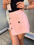 Юбка-шорты  льняные с карманом и пуговицами, 3цвета. Р-р.S-M,M-L Код 5100Ж, фото 4