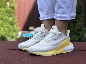 Женские модные кроссовки Adidas Alphaboost,бежевые с желтым, фото 3
